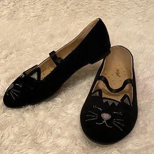 Cat & Jack Girls Velvety Kitty Face Flats Size 12
